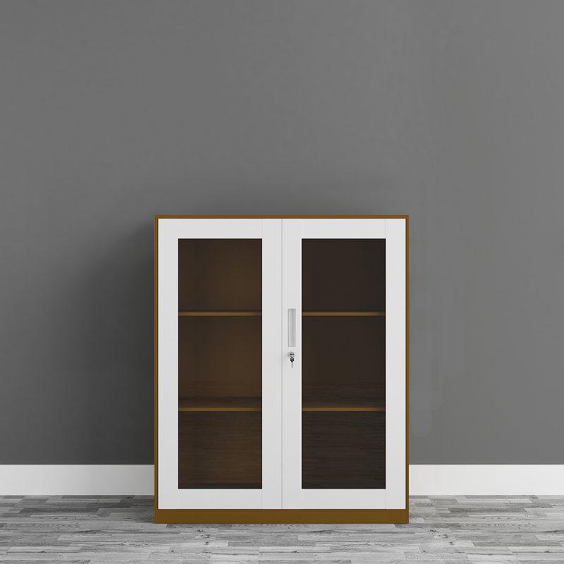 2 glass swing door filing cabinet